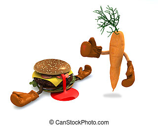 burgers and carrot that fight, the winner is the carrot with...