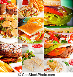 burgers and sandwiches collection on a collage