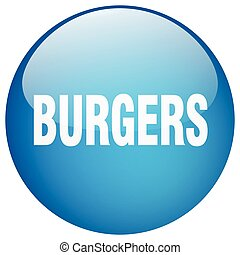 burgers blue round gel isolated push button