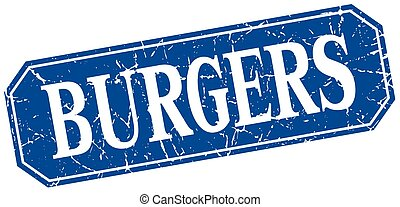 burgers blue square vintage grunge isolated sign