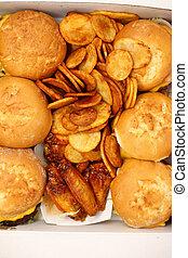 Burgers, Fried Potatoes, Chicken Wings