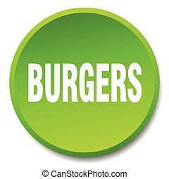 burgers green round flat isolated push button