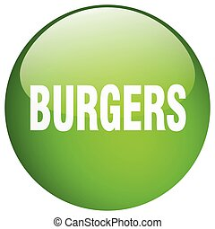 burgers green round gel isolated push button