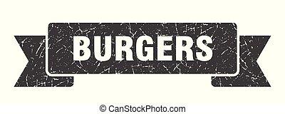 burgers grunge ribbon. burgers sign. burgers banner