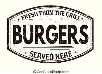Burgers grunge rubber stamp on white background, vector...