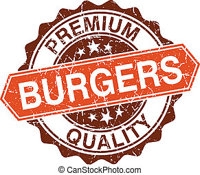 Burgers grungy stamp isolated on white background