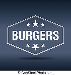 burgers hexagonal white vintage retro style label