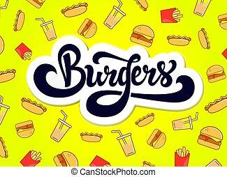Burgers logo design. Hand drawn logotype.