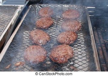 Burgers on barbecue