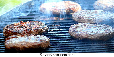 Burgers on grill.