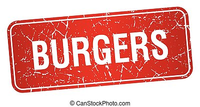 burgers red square grunge textured isolated stamp