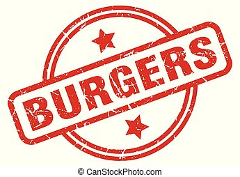 burgers round grunge isolated stamp