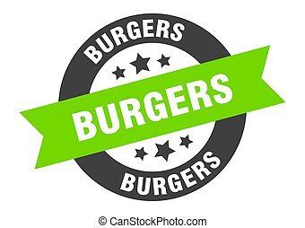 burgers sign. burgers black-green round ribbon sticker