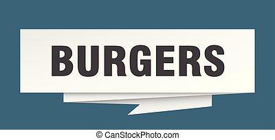 burgers sign. burgers paper origami speech bubble. burgers ...