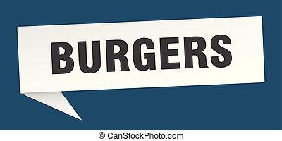 burgers speech bubble. burgers sign. burgers banner