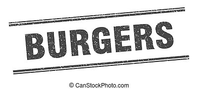 burgers stamp. burgers label. square grunge sign