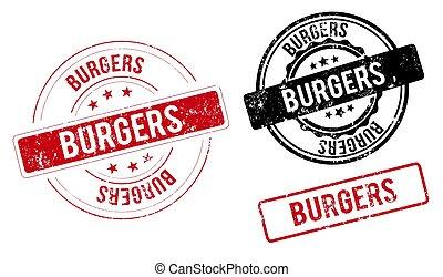 burgers stamp. burgers round grunge sign. label