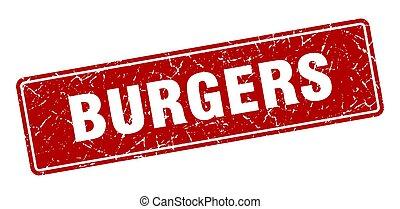 burgers stamp. burgers vintage red label. Sign
