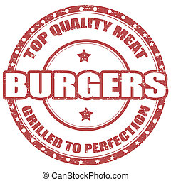 Burgers-stamp - Grunge rubber stamp with text Burgers-...