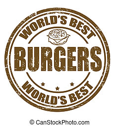 Burgers stamp - Grunge rubber stamp with the word Burgers ...