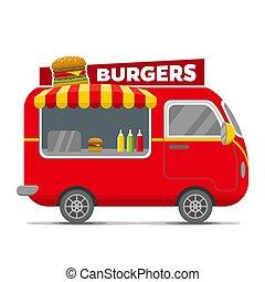 Burgers street food vector caravan trailer