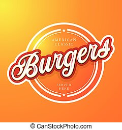 Burgers vintage sign lettering vector