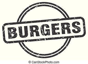 burgers vintage stamp. burgers sign