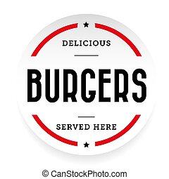 Burgers vintage stamp sticker