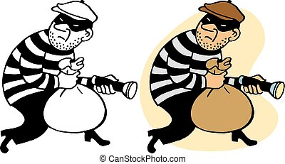 Burglar - A burgling thief sneaks away with a bag of stolen...