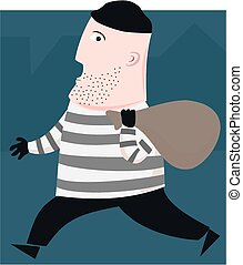 Burglar - A cartoon burglar does a run for it.