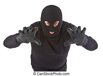 Burglar attack against white background
