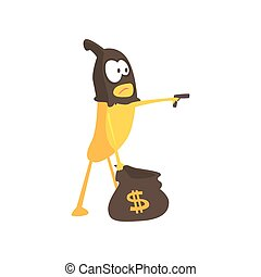 Burglar banana in mask holding hand gun and a bag with dollar sign, cartoon funny fruit character vector Illustration