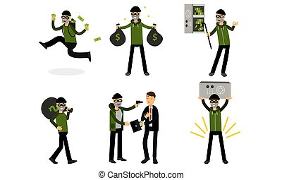 Burglar breaking safe with crowbar. Vector Illustration Set Of Cartoon Thief Character Isolated On White Background