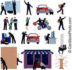 Burglar Flat Icons Set - Armed burglars committing crimes...