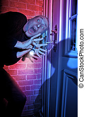 Burglar getting caught