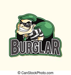 burglar green illustration design