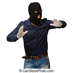 Burglar In Face Mask Isolated On White Background