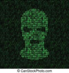 burglar in mask on binary code background