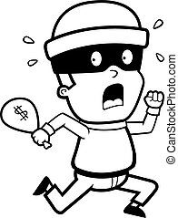 Burglar Running - A cartoon kid burglar running in fear.