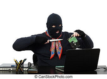 Burglar speaking on Skype - Burglar holding a knife and hard...