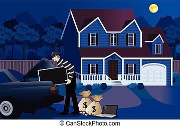 Burglar Stealing From a House Illustration