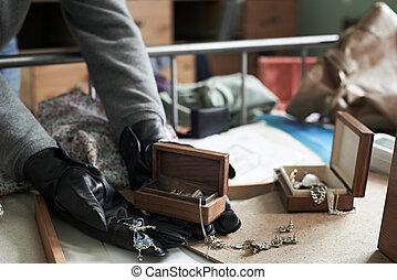 Burglar Stealing Items From Bedroom During House Break In