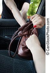 Burglar takes bag of a woman
