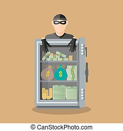burglar thief in mask on the big opened safe