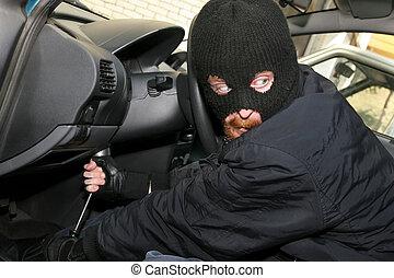 car burglary - burglar wearing a mask (balaclava), details...