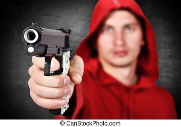 burglar with gun