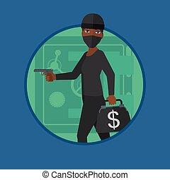 Burglar with gun near safe vector illustration.