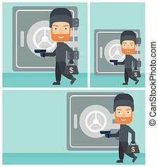 Professional burglar in mask near the big safe door. Burglar holding hand gun and a bag with dollar sign. Thief stealing money. Vector flat design illustration. Square, horizontal, vertical layouts.