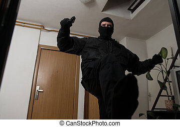 Burglary With Gun Breaks Door With A Foot