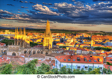 Burgos aerial view skyline sunset with Cathedral in Castilla...
